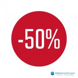 Kortingsstickers - 50% - Wit op Rood Glans - Vooraanzicht