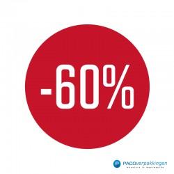 Kortingsstickers - 60% - Wit op Rood Glans - Vooraanzicht