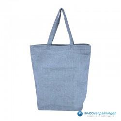 Katoenen draagtassen - Blauw gemêleerd - Lange hengsels - Recycle - Hoofdafbeelding