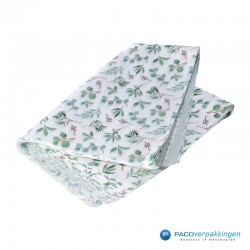 Zijdepapier - Eucalyptus - Groen op wit - zijaanzicht