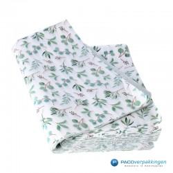 Zijdepapier - Eucalyptus - Groen op wit - vooraanzicht