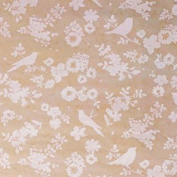 Zijdepapier - Lente - Beige op bruin - close up