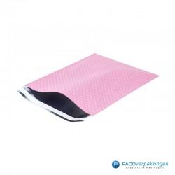 Verzendzakken - A4 - Witte Stippen op Roze - Luxe - Zijaanzicht open