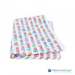 Zijdepapier - Be Human - Multikleur op wit - voorzijde