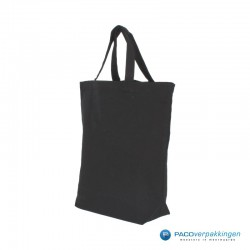 Canvas draagtassen - Zwart - Korte hengsels - Zijaanzicht
