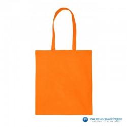 Katoenen draagtassen- Oranje - Lange hengsels - Vooraanzicht