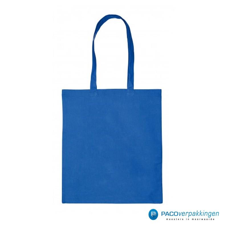Katoenen draagtassen - Kobalt blauw - Lange hengsels - Bovenaanzicht