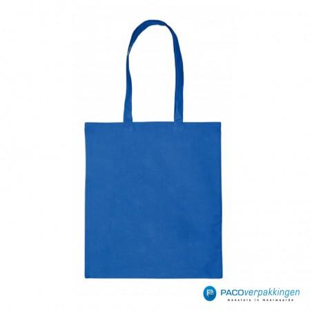 Katoenen draagtassen - Kobalt blauw - Lange hengsels