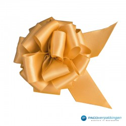 Plakdecoratie - Satijn lint - Trekstrik - Goud - Close-up
