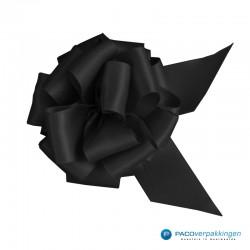 Plakdecoratie - Satijn lint - Trekstrik - Zwart - Close-up