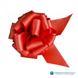 Plakdecoratie - Satijn lint - Trekstrik - Rood - Close-up