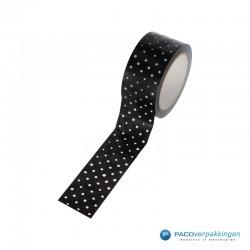 Verpakkingstape - Stippen - Wit op zwart - Close-up