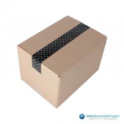 Verpakkingstape - Stippen - Wit op zwart - Gebruik