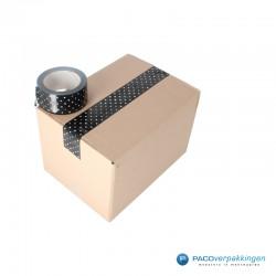 Verpakkingstape - Stippen - Wit op zwart - Toepassing