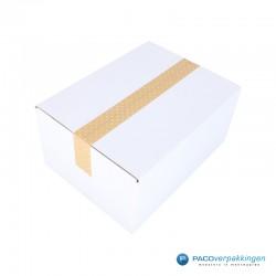 Verpakkingstape - Papier - Stippen - Wit op Kraft Bruin - Gebruik