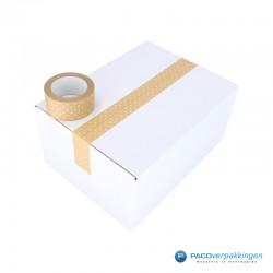 Verpakkingstape - Papier - Stippen - Wit op Kraft Bruin - Toepassing