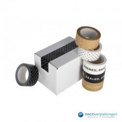 Verpakkingstape - Papier - Stippen - Wit op Kraft Bruin - Combinatie
