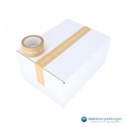 Verpakkingstape - Papier - Signed, Sealed, Delivered - Wit op Kraft Bruin - Toepassing