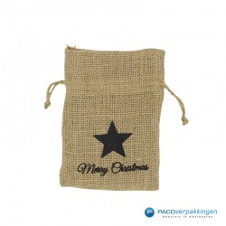 Jute - Zakjes - Zwart - Bruin - Merry Christmas