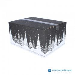Kerstpakketdozen - Geschenkdoos - Verzenddoos - Kerstbomen - Zwart met wit - Dicht Zijaanzicht