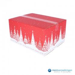 Kerstpakketdozen - Geschenkdoos - Verzenddoos - Kerstbomen - Rood met wit - Dicht Zijaanzicht