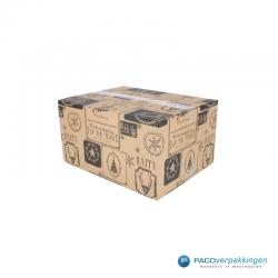 Kerstpakketdozen - Geschenkdoos - Verzenddoos - Bruin met zwart - Zijaanzicht Dicht