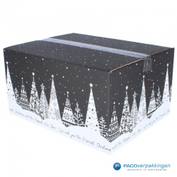 Kerstpakketdozen - Geschenkdoos - Verzenddoos - Kerstbomen - Zwart met wit - Zijaanzicht Dicht