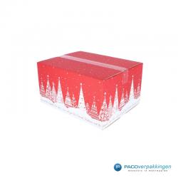 Kerstpakketdozen - Geschenkdoos - Verzenddoos - Kerstbomen - Rood met wit - Zijaanzicht Dicht