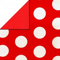 Inpakpapier - Stippen - Wit op rood (Nr. 1108) - Close-up