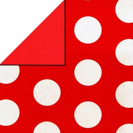 Inpakpapier - Stippen - Wit op rood (Nr. 1108)