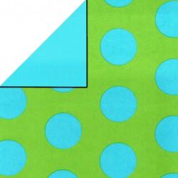 Inpakpapier - Stippen - Blauw op groen (Nr. 1110) - Close-up