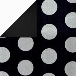Inpakpapier - Stippen - Zilver op zwart (Nr. 1112) - Close-up