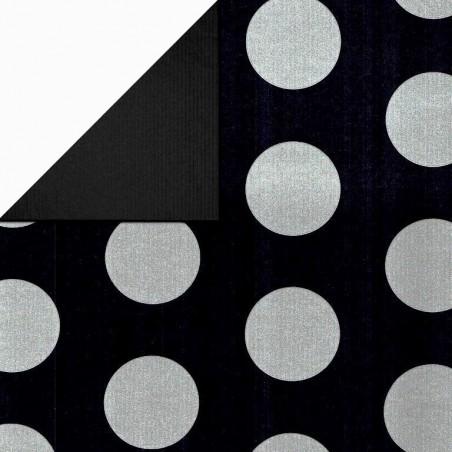 Inpakpapier - Stippen - Zilver op zwart (Nr. 1112)