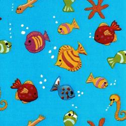 Inpakpapier - Vissen - Multikleur op blauw (Nr. 1208) - Close-up