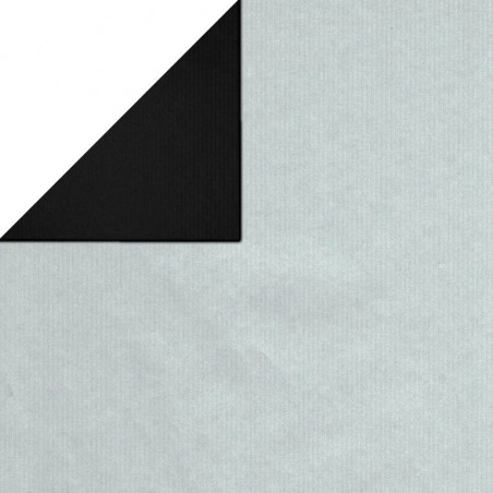 Inpakpapier - Effen - Zilver en zwart (Nr. 1740)