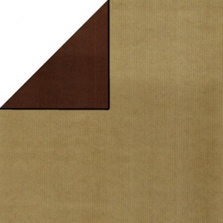 Inpakpapier - Effen - Goud en bruin (Nr. 1742)