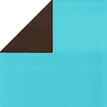 Inpakpapier - Effen - Blauw en bruin (Nr. 1752)