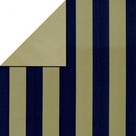 Inpakpapier - Strepen - Blauw op goud (Nr. 3102)