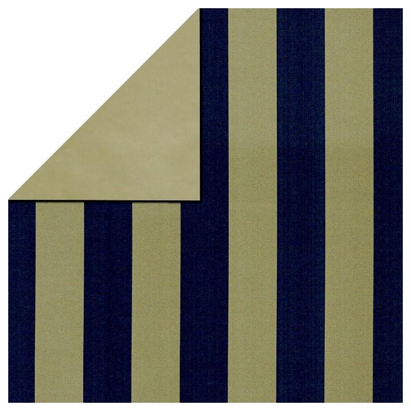 Inpakpapier - Strepen - Blauw op goud (Nr. 3102) - Close-up