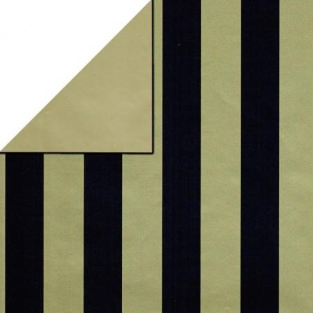 Inpakpapier - Strepen - Zwart op goud (Nr. 3106)