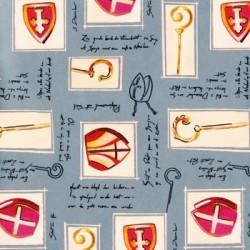 Inpakpapier Sinterklaas - Rood op grijs (Nr. 6009) - Close-up