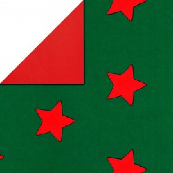 Inpakpapier Feestdagen- Rood op groen kraft (Nr. 6019) - Close-up