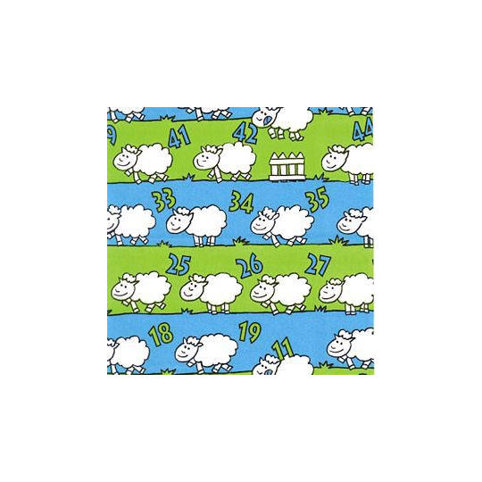 Inpakpapier - Schaapjes - Groen en blauw (Nr. 1204)