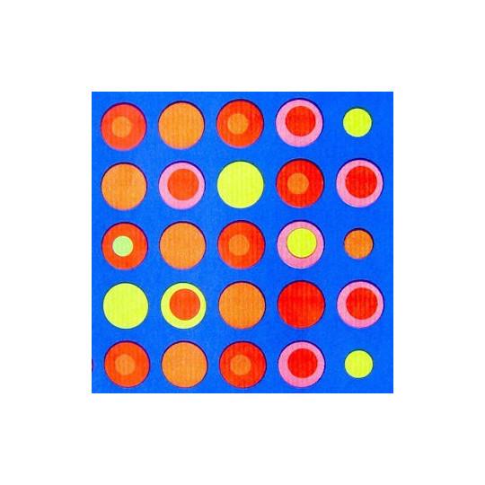 Inpakpapier - Stippen - Multikleur op blauw (Nr. 1005)