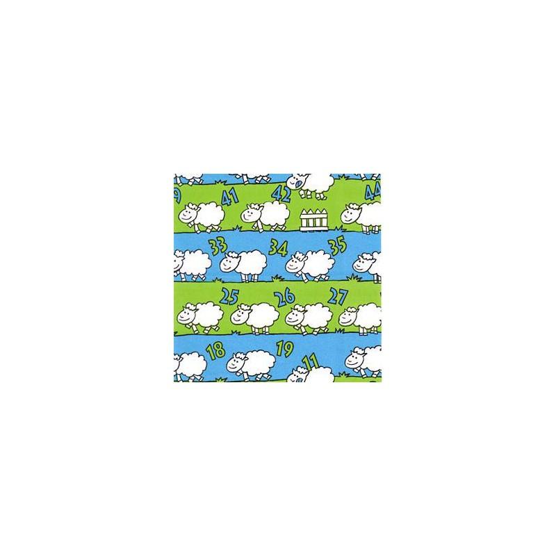 Inpakpapier - Schaapjes - Groen en blauw (Nr. 1204) - Close-up