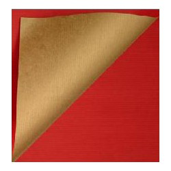 Inpakpapier - Effen - Glossy - Rood en goud (Nr. 995) - Close-up