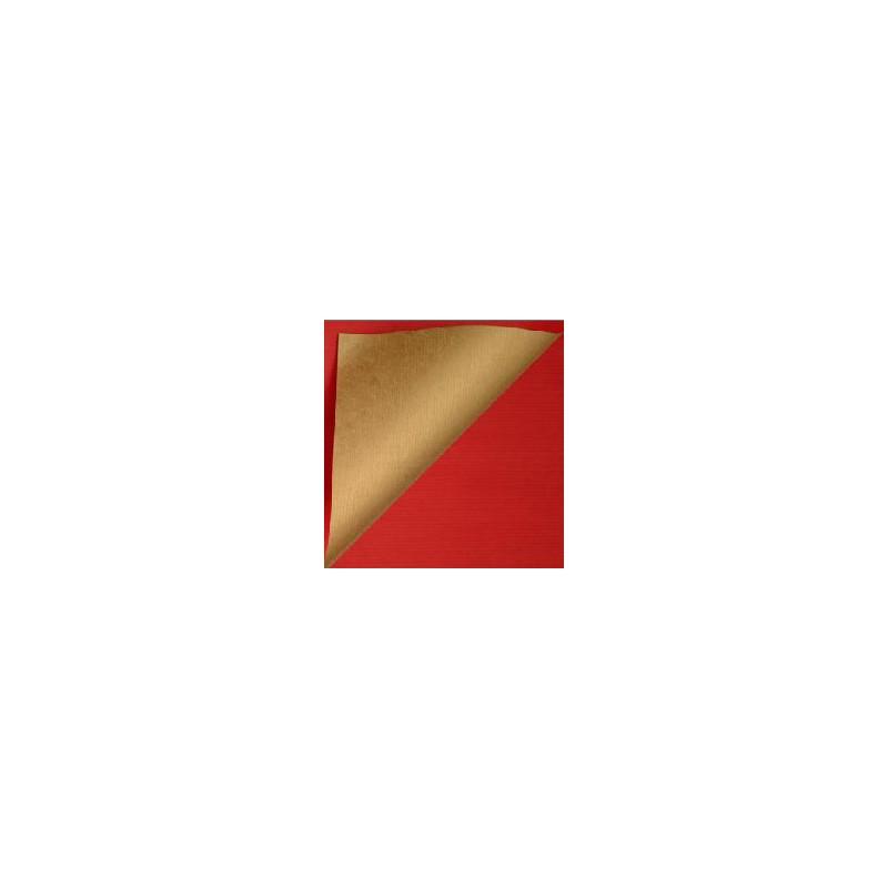Inpakpapier - Effen - Glossy - Rood en goud (Nr. 995) - Close-up