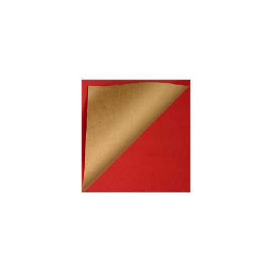 Inpakpapier - Effen - Rood en goud (Nr. 995)