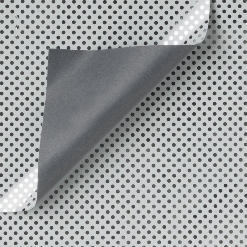 Inpakpapier - Stippen - Zilver op grijs (Nr. Zp948) - Close-up