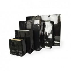 Papieren draagtassen - Zwart Glans - Luxe - Katoenen koord - Detail - Collectie